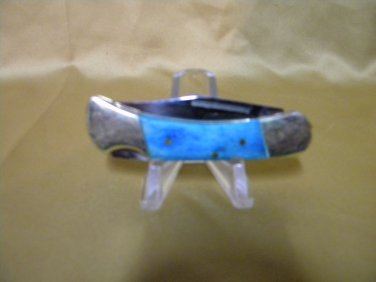 FROST, lil blue ridge cougar, single blade lock back knife, w/blue bone handles.