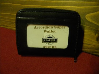 Black Leather Accordion Style Zip Around Wallet, double zipper