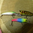 lot of 3 super fishing lures, 1 top water plug & 2 diving minnows.