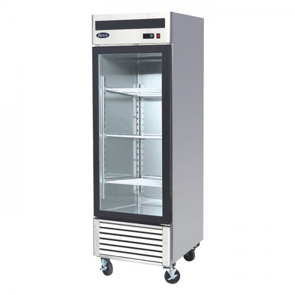 Stainless Steel Single 1 Door Glass Freezer Merchandiser Display Case