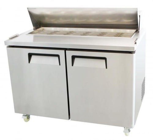 "48"" 2 Door Refrigerated Restaurant Mega Top Salad Sandwich Prep Table MSF-8306"
