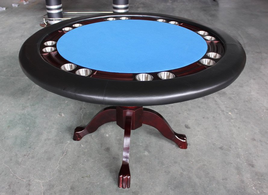 Mahogany 52 Round Texas Holdem Poker Game Dining Table Solid Wood