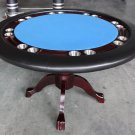 "Mahogany 52"" Round Texas Holdem Poker Game Dining Table Solid Wood"