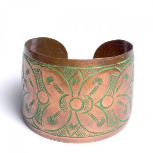 Imprinted Copper Cuff Bracelet