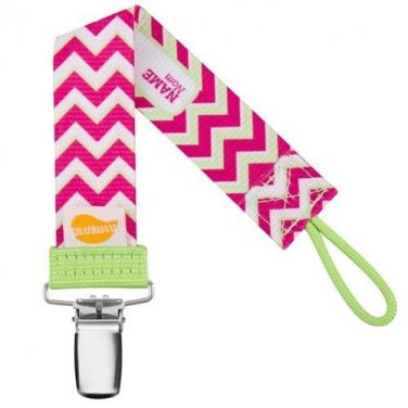 Pink Chevron Personalized Pacifier Clip - Pink, Girls