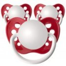 Set of 3 Personalized Pacifiers by Ulubulu, Red, Unisex
