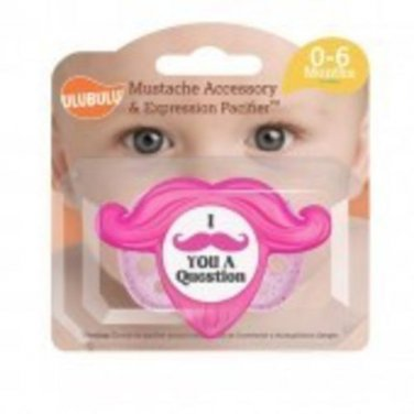 Mustache Accessory and Pacifier Set - Pink 0-6M