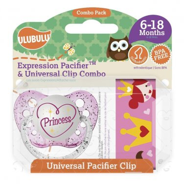 Princess Pacifier and Universal Clip Combo 6-18M