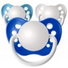Set of 3 Personalized Pacifiers by Ulubulu, Blue White and Blue, Classic Boys