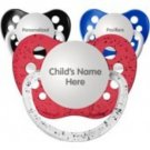 Set of 3 Personalized Pacifiers by Ulubulu, Red Blue and Black, Boys