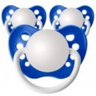 Set of 3 Personalized Pacifiers by Ulubulu, Dark Blue, Boys