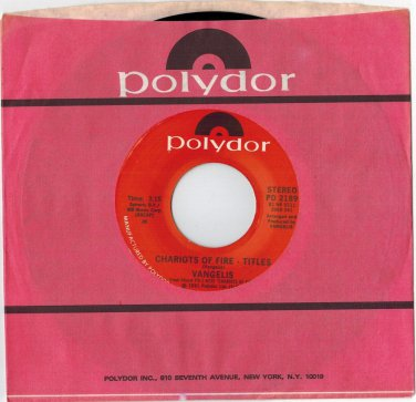 Vangelis - Chariots Of Fire (Titles) 45 RPM RECORD