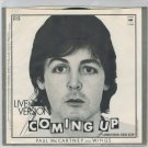 Paul McCartney & Wings - Coming Up 45 RPM Record + PICTURE SLEEVE