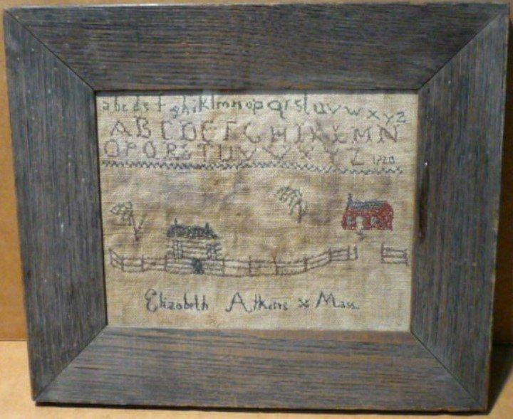 Antique New England school sampler needle work dated 1720