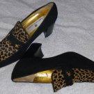 SAKS FIFTH AVENUE Suede Leather Black/Leopard Print Pumps 8 B Vero Cuoio Italy