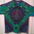 New XL Hanes Tie Dye Tshirt Marijuana Leaf Peace Sign crinkle blue green purple