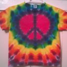 New Tie Dye Juvy Large (7) Alstyle Tshirt Red Purple Peace sign pattern t shirt