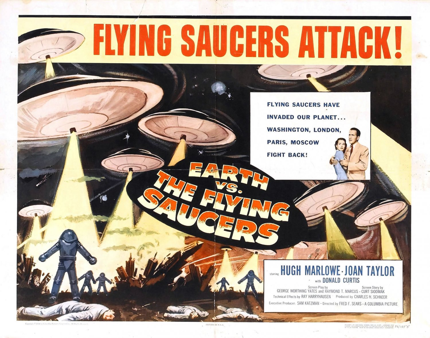 Earth Vs The Flying Saucers 1956 1950 1960 Classic Sci