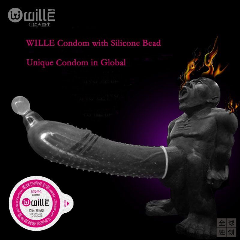 Unbelieve Wille Condoms with Silicone Bead G-Spot 2-Pack