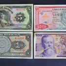 4 pcs bank notes Mexico 100 20 5 1 Pesos Banknotes