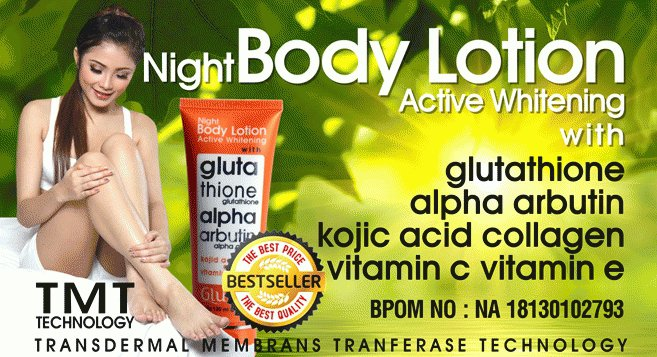 Glutera Night Body Lotion Glutathione and Alpha Arbutin Active Whitening
