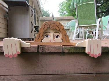 Handmade Custom Wooden Functional Mrs Wilson Rail Pet or Fence Sitter