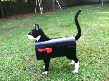 Handmade custom painted, functional, Tuxedo cat mailbox