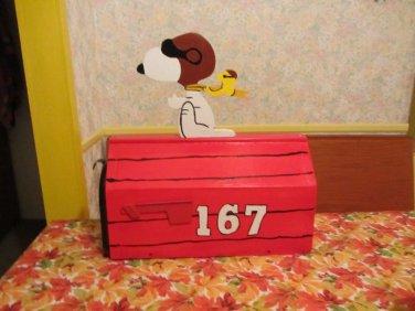 Handmade custom designed cartoon Red Baron dog and bird functional mailbox