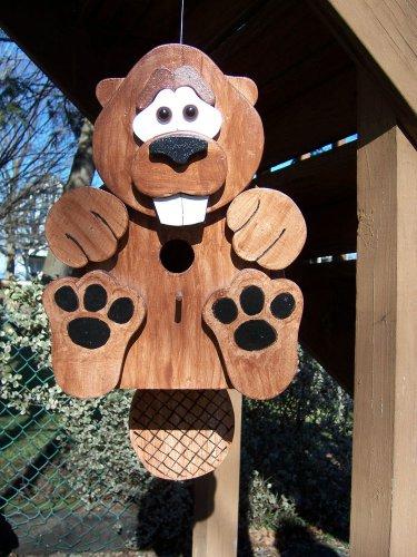 Handmade Custom Wooden Functional Beaver Birdhouse