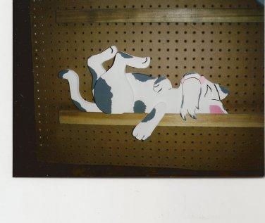 Handmade Custom Wooden Functional  Lazy Mouser Cat Rail Pet or Fence Sitter