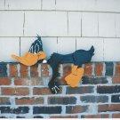 Handmade Custom Wooden Functional Cartoon Duck Rail Pet or Fence Sitter