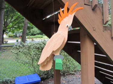 Handmade custom painted lIfe size Moluccan Cockatoo