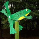 Handmade Handpainted Wooden Frog Whirligig