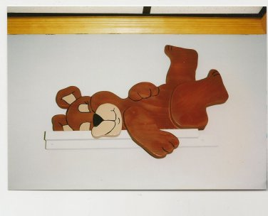 Handmade Custom Wooden Functional  Lazy Bear on back Rail Pet or Fence Sitter