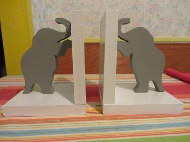 Handmade custom painted wooden elephant bookends