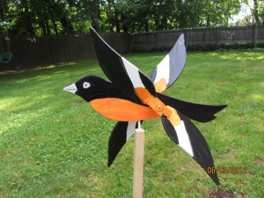Handmade Wooden Oriole Bird shaped whirligigs for your yard
