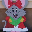 Handmade custom painted wooden Singing girl mouse for your yard