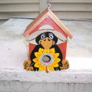 Handmade Functional Custom Farmer Crow Birdhouse
