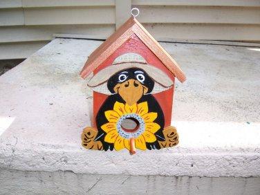 Handmade Functional Custom Farmer Crow Birdhouse