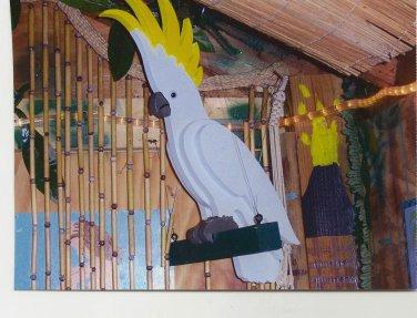 Handmade custom painted lIfe size multi-layered Cockatoo