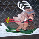 Handmade custom painted wooden reindeer on skis for your yard