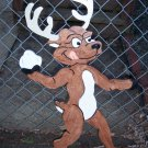 Handmade custom painted wooden reindeer throwing a snowball for your yard