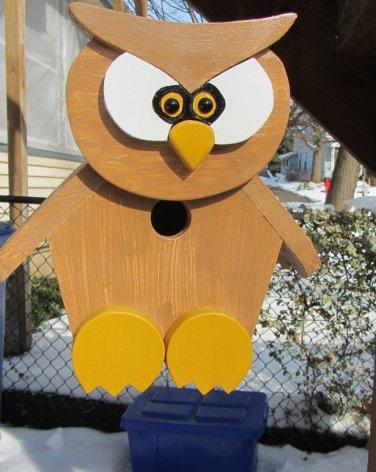 Handmade Custom Wooden Functional Owl Birdhouse