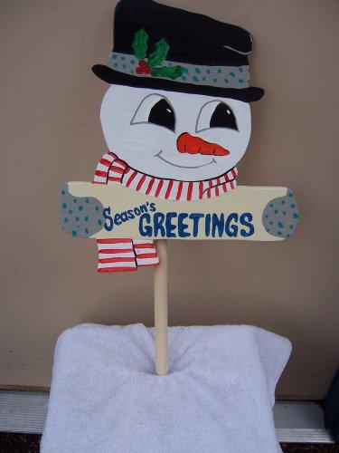 """Handmade Custom custom painted """"Seasons Greetings"""" snowman stake"""
