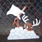 Handmade custom painted wooden reindeer waving a white flag for your yard