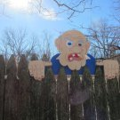 "Handmade Custom Wooden Functional  "" Grumpy Old Man""  Rail Pet or Fence Sitter"
