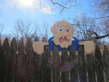 "Handmade Custom Wooden Functional  "" Grumpy Old Man""  Rail Pet or Fence Sitter"