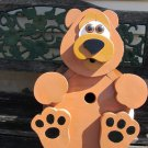 Handmade Custom Wooden Functional Bear Birdhouse