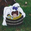 Handmade Halloween Ghost bobbing for eyeballs yard stake
