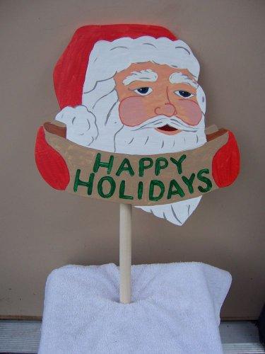 "Handmade Custom custom painted ""Happy Holidays"" Santa stake"